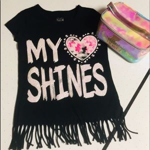 ⭐️ 2 for $15 Justice fringe tunic & iridescent bag
